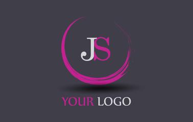 JS Letter Logo Circular Purple Splash Brush Concept.