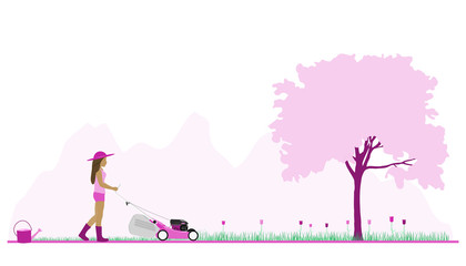 Springtime. Girl is mowing the lawn. Springtime landscape with mountains in the background. Pink shade.