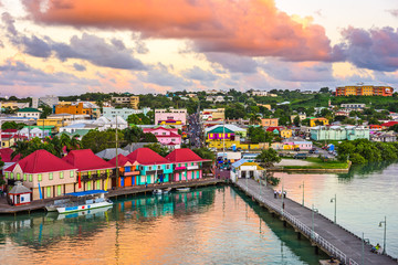 St. John's, Antigua and Barbuda port at dusk. Wall mural