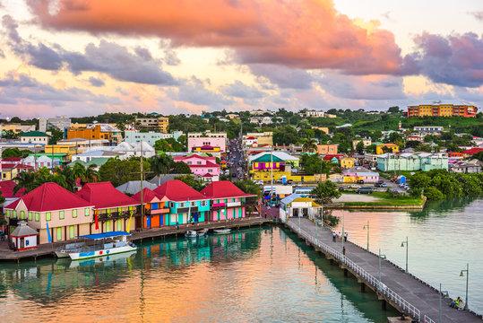 St. John's, Antigua and Barbuda port at dusk.