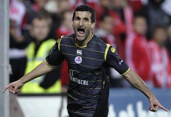 Lille's Pierre-Alain Frau celebrates after scoring against Slavia Prague during the UEFA Europa League soccer match in Prague