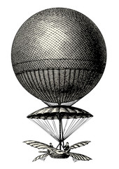 vintage steampunk vector design element: retro drawing of a hot air balloon / dirigible / airship isolated on white