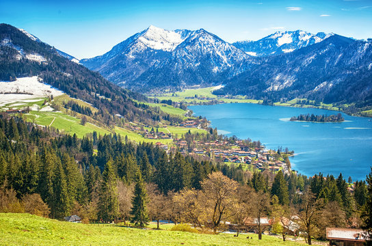 Panoramic landscape with mountain lake of Schliersee near Tegernsee, German Alps, Bavaria, Germany