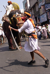 An Indian Sikh youth performs martial art during a religious procession in Amritsar.