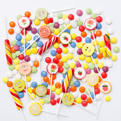 Lollipops sweets. Candy, top view flat lay on white background. Sweet sucker, lollipop, candy, minimal concept above decoration, food background