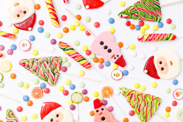 Lollipops sweets. Candy, top view flat lay on white background. Sweet sucker, lollipop, candy, food background