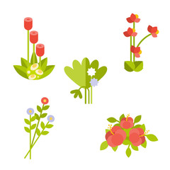 Set of tropical bouquets. Vector flat illustration