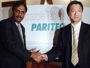 GlaxoSmithKline's managing director Kalyanasundaram greets vice president of Eisai's global ...
