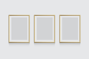 Golden picture or photo frames isolated on grey background. Vector illustration.