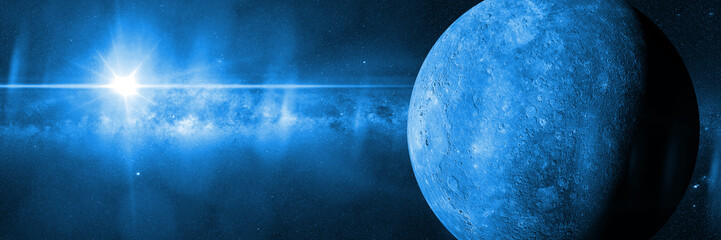 blue planet Mercury in front of the Milky Way galaxy lit by the Sun