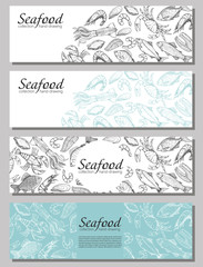 Vector booklet with sketches of sea food