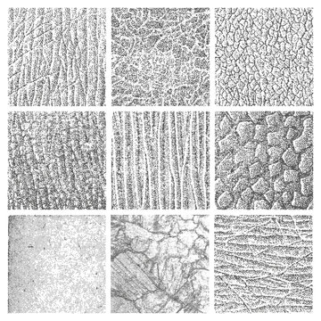 set of nine detailed grungy organic vector textures