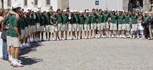Portugal's soccer team line together to sing Portuguese folk songs during visit to the city of Evora