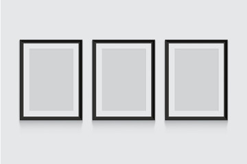 Vector black picture or photo frames isolated on grey background.