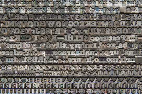 Vintage lead type overlay texture background