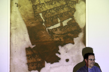 A picture depicting a 1,000-year-old parchment from a Hebrew bible manuscript is screened at Jerusalem's Yad Ben-Zvi institute