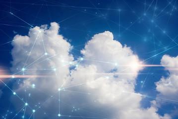 cloud storage security information, data deep learning hologram ai technology robotic, futuristic cyber network system online Fotoväggar