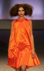 A model presents a creation by Portuguese designer Maria Gambina at her Spring/Summer 2007 fashion collection in Lisbon