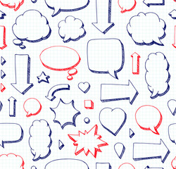 Hand drawn seamless pattern of speech bubbles. School style