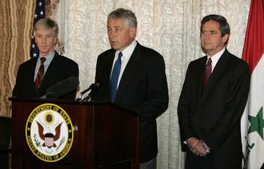 U.S. Republican senator Hagel from Nebraska speaks during a news conference at the U.S. embassy in Baghdad