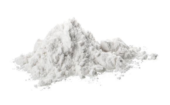 Pile of flour isolated on white background