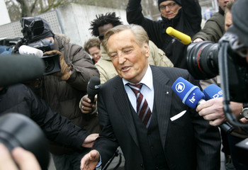 President of German Soccer Association DFB Mayer-Vorfelder arrives for a meeting in Frankfurt.