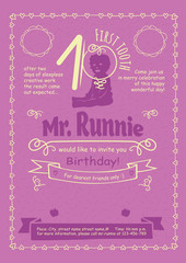 Birthday Invitation Flier with Hand-Drawn Calligraphic Frames, Borders, Swirls, Custom-Designed Graphics, Icons and Decorative Elements