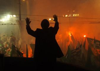 GREEK PREMIER COSTAS SIMITIS IN PRE ELECTION RALLY.
