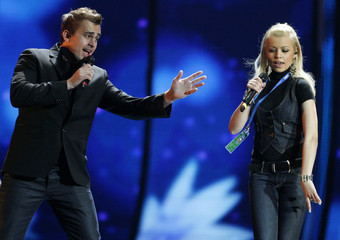 Igor Cukrov and Andrea of Croatia perform during a rehearsal for the Eurovision Song Contest in Moscow