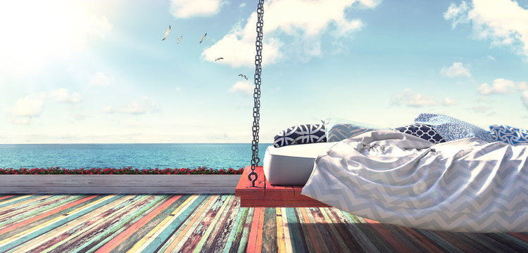 Hanging bed by the beach 3D Render