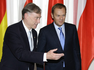 Germany's President Koehler and Poland's Prime Minister Tusk meet at Belweder Palace in Warsaw