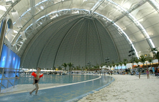 A panoramic view shows the 'beach' area at Tropical Islands holiday resort south of Berlin.