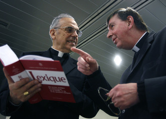Bishop Koch president of the Swiss bishop - conference talks to bishop Romer before a news conference in Bern