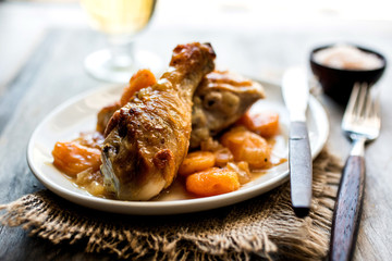 Chicken drumstick with dried apricots