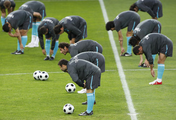 Turkey's players attend a training session at the Stade de Geneve in Geneva