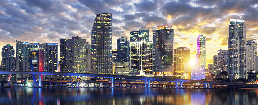 Miami buildings at sunset