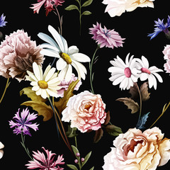 Seamless pattern of carnation flowers with chamomile (camomile), leaves, cornflowers and peony on black. Vintage style. Vector stock