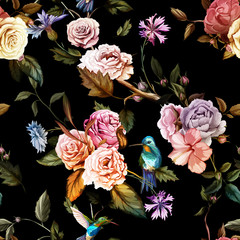 Seamless pattern of carnation flowers, roses, peony, leaves, cornflowers and humming bird on black. Vintage style. Vector stock