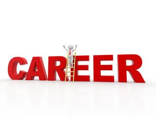3d man climbs the ladder of career, 3d render