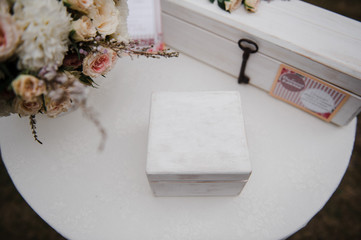 A box for rings. Wedding details.