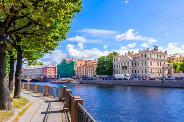 View from Fontanka river embankment in Saint Petersburg, Russia