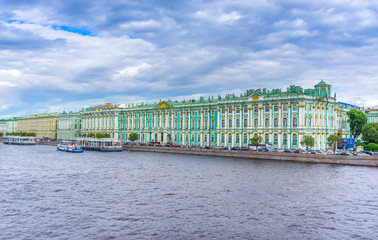 Winter Palace on Palace Square in Saint Petersburg, Russia. View from the Palace Bridge