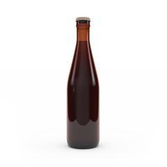 Beer bottle isolated 3d rendering