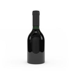 Wine bottle isolated 3d rendering