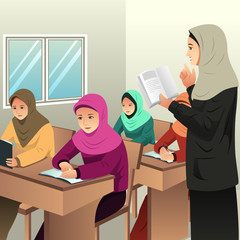 Muslim Students in a Classroom with Her Teacher