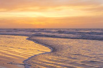 Sunrise view of the Atlantic Ocean at North Myrtle Beach, South Carolina.