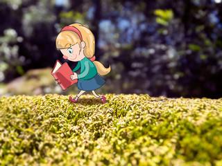 niña caminando por el campo y leyendo