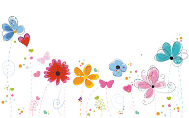 Summer time colorful doodle flowers background