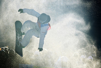 White of the US competes at the Winter Olympic Games in Bardonecchia