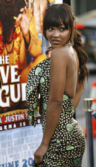 Meagan Good poses at the premiere of The Love Guru at the Grauman's Chinese theatre in Hollywood